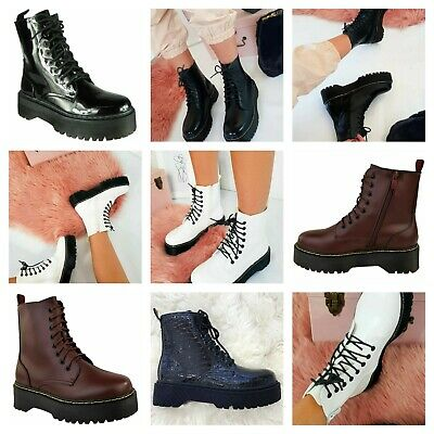 Womens Ladies Chunky Lace Up Ankle Boots Platform Icon Retro Goth Punk Black • 22.95£