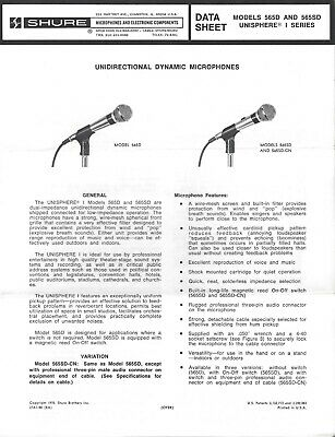 Shure 565D And 565SD Microphone Spec Sheet 1960s Engineering Data RARE • 4.58£
