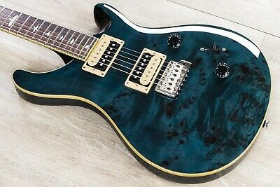 PRS Paul Reed Smith SE Custom 24 Poplar Burl Guitar, Whale Blue, 30075 • 687.94£