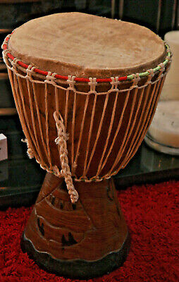 Djembe African Drum Hand Carved Solid Wood 16  Tall With 9  Diameter • 20£