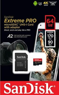 Genuine Sandisk 64GB Extreme Pro Micro SD SDXC Card V30 A2 170Mb/s + SD Adapter • 13.49£
