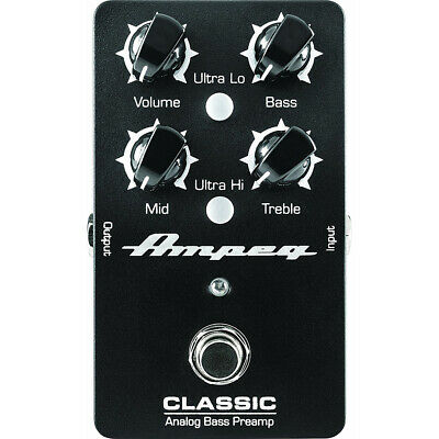 Ampeg Classic Analog Bass Guitar Preamp True Bypass 3-Band Tone Controls Pedal • 88.05£