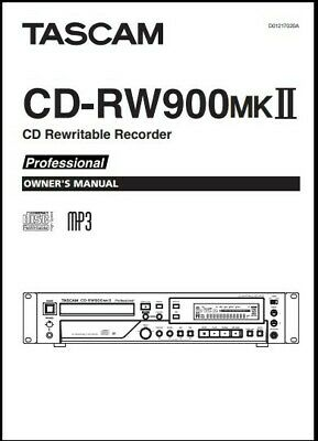 Tascam CD-RW900MKII CD Recorder  Owner's Manual - Operating Instructions  • 11.77£