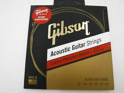 Gibson Coated Phosphor Bronze Acoustic Guitar Strings, Ultra-Light Gauge 011-052 • 9.26£