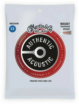 Martin Authentic Acoustic Treated Guitar Strings Medium 13-56 - MA550T • 9.50£