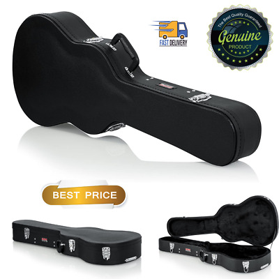 Cases Hard-Shell Wood Case For 3/4 Sized Acoustic Guitars Ultra-Durable Black • 90.36£