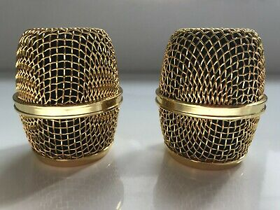 2 X Gold Replacement Microphone Grill Heads Beta87 & 87a  And Rk312 Shure Sm58 • 35£