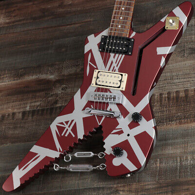 EVH: Striped Series Shark Burgundy With Silver Stripes Electric Guitar • 1,597.04£