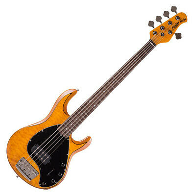 Sterling By MusicMan Ray35 Quilted Maple/Antique Maple 5-String Bass With Gigbag