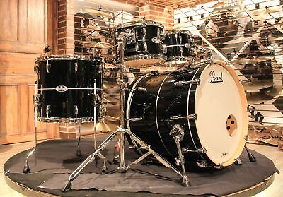 Pearl Masters Complete 4-pcs Piano Black With Silver Stripe Drum Set  - New!