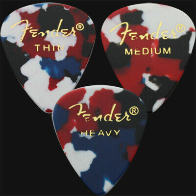 12 x Fender Classic Celluloid Guitar Picks In Confetti - 4 Of Each Size