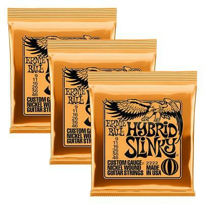 3-Pack Ernie Ball 2222 Hybrid Slinky Nickel Wound Guitar Strings Gauge 9-46 • 13.34£