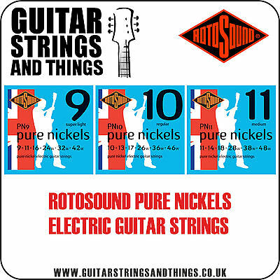 Rotosound PURE NICKELS  Electric Guitar Strings PN9 PN10 PN11 • 8.49£