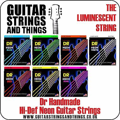 Dr Handmade NEON Colour Coated Electric Guitar Strings pink, red, orange, blue