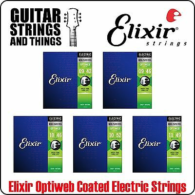 Elixir Optiweb Coated Nickel Plated Electric Guitar Strings • 13.75£