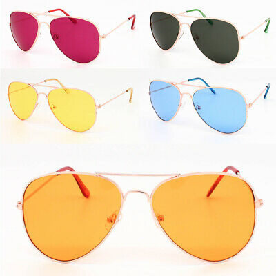 Fashion Bright Coloured Lens PILOT Sunglasses Men Women's Designer Eyewear • 5.99£