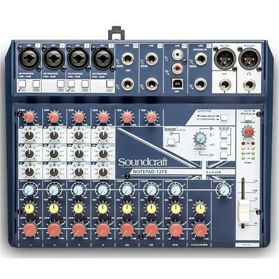 SOUNDCRAFT NOTEPAD 12FX Mixer Analogico 12 Canali 4 Preamp Microfonici Phantom • 158.39£