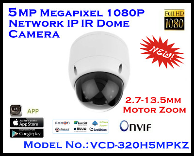 5MP IP IR Dome Camera / H.265 / H.264 / MJEPG / 2.7~13.5mm Motor Zoom / 30m  • 110.08£