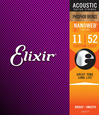 Elixir Nanoweb Phosphor Bronze Acoustic Guitar Strings, 11-52 Custom Light 16027 • 16.49£