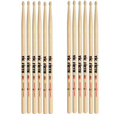 6 Pairs Vic Firth 5B Wood Tip American Classic Hickory  Drumsticks • 43.49£