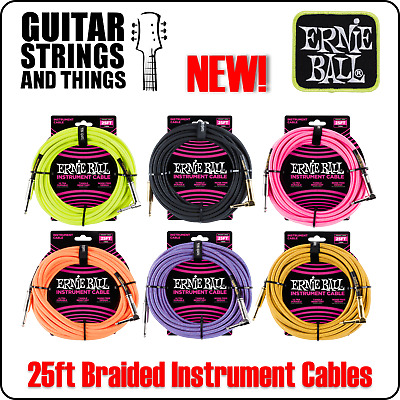 Ernie Ball 25ft Braided Guitar Instrument Cables Leads In Slinky Colours • 30.45£