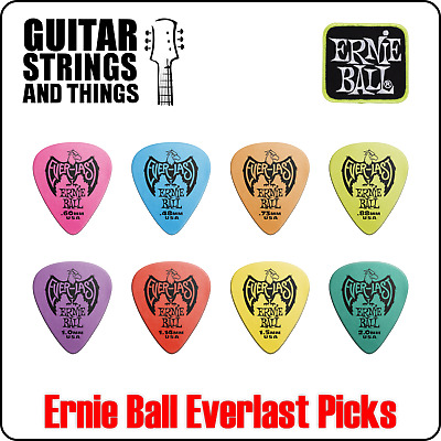 Ernie Ball Everlast Non-Slip Grip Delrin Material Plectrums - Bags Of 12 Picks • 7.69£