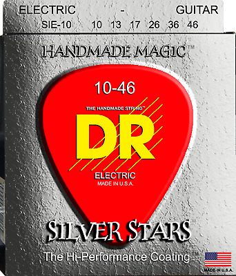 Dr Handmade Silver Stars 10-46 Coated Silver Plated Electric Guitar Strings • 15.95£