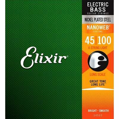Elixir 14052 Nanoweb Electric Bass Strings Light 45 - 100 Long Scale • 49.99£