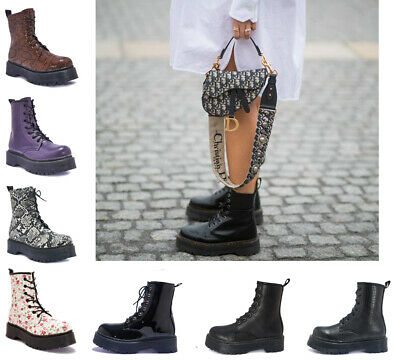 BRANDED Vegan Leather Womens Ladies Dok Lace Up Combat Army Ankle Boots Size 3-8 • 14.99£