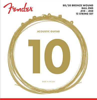Fender 70-12L Acoustic 80-20 Bronze 12 String Guitar Set,Light, MPN 073-0070-402 • 5.74£