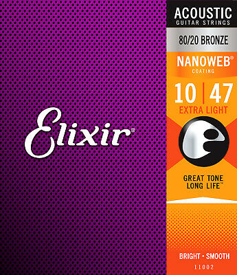 Elixir Nanoweb Coated 10-47 Extra Light 80/20 Bronze Acoustic Strings 11002 • 16.65£