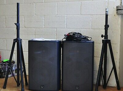 TURBOSOUND MILAN M15 Active Speakers X 2 + Leads, Stands, Covers LONDON PICK UP  • 600£