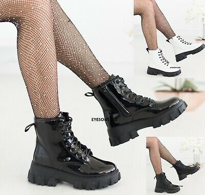 Ladies Ankle Zip Icon Retro Womens Chunky Block Sole Lace Up Punk Goth Boots • 23.90£