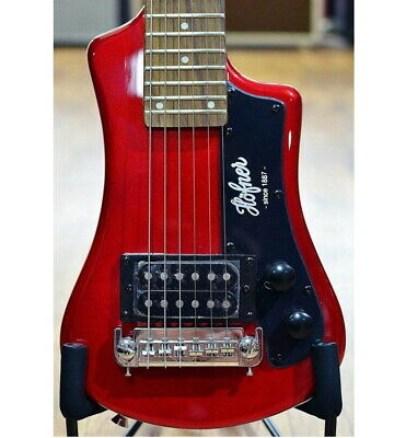 Hofner Shorty Guitar Full Sized Neck Travel Electric Guitar W/ Bag - Red, New! • 122.85£