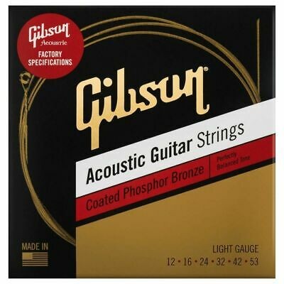 Gibson Coated Phosphor Bronze Acoustic Guitar Strings, Light • 11.99£