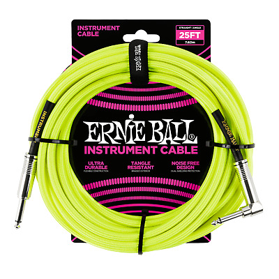 Ernie Ball 25ft Braided Neon Yellow Tangle Free Guitar / Instrument Cable Lead • 30.75£