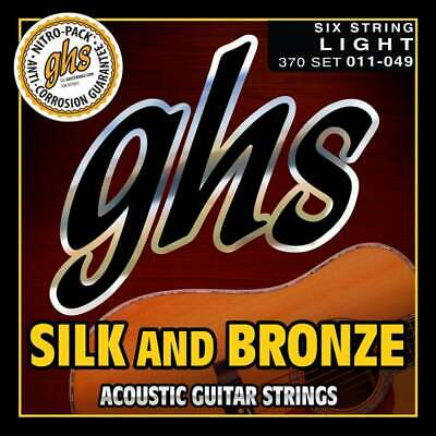 Ghs Silk and & Bronze 11-49 Light Silver Plated Acoustic Guitar Strings 370