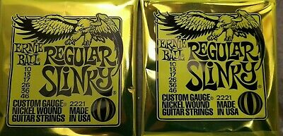 Ernie Ball Regular Slinky 2221 Guitar Strings 10-46 (2 Sets) • 11.90£