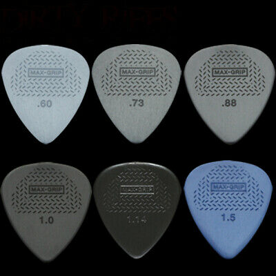 6 x Dunlop Max Grip Standard Guitar Picks / Plectrums - Your Choice Of Size/Type