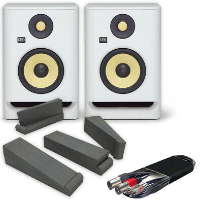 KRK Rokit RP5 G4 White Noise (Pair) + Iso Pads + 3mtr RCA To XLRm Cable Deal • 349£