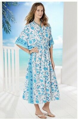 BNWT Lily Ella Keely Kaftan One Size Up To 24 26 Cotton Blue White Beach Lounge • 17.99£