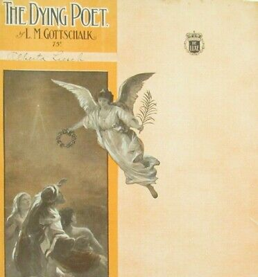 The Dying Poet Sheet Music Advanced Piano Solo Large Format Angel Cover Art