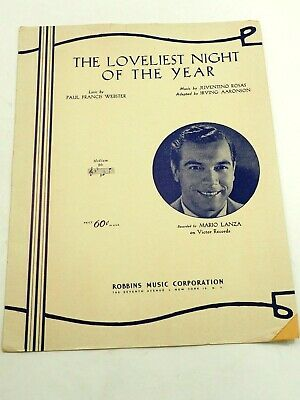 The Loveliest Night of The Year Sheet Music 1951