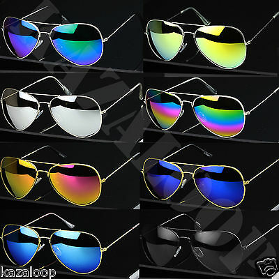 Classic Pilot Sunglasses Gold Silver Frames UV400 Protection • 3.99£
