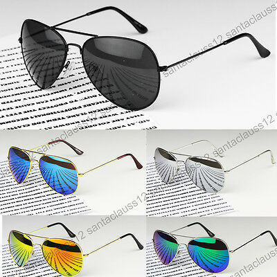 Classic Pilot Sunglasses Metal Frame Mirror Lenses  UV400 Womens Mens  • 4.95£