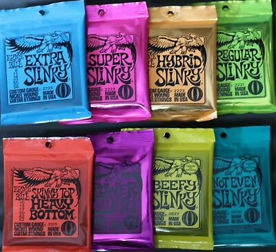 Slinky Strings By Ernie Ball.. 8 Gauges Available.... Delivered By Cadno Music • 8.50£