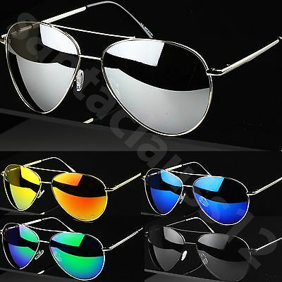 Large Pilot Style Sunglasses Mirror Lenses Women's Mens UV400 • 4.95£