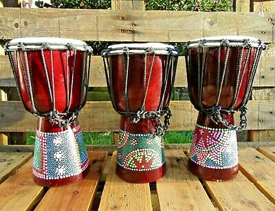 FairTrade Hand Carved Made Djembe Bongo Dot Painted African Influenced Drum 30cm • 20.99£