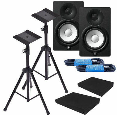 Yamaha HS7 6.5  Black Powered Studio Monitor Bundle W/ Free Stands & More *New* • 505.47£