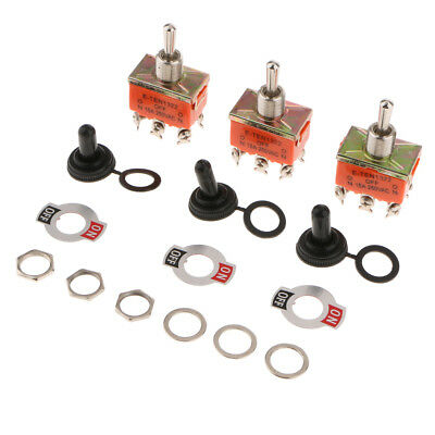 3PC Heavy Duty 15A 250V DPDT ON/OFF/ON Momentary Rocker Toggle Switch Orange • 4.57£